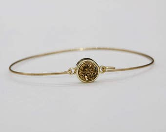 Druzy bracelet Golden quartz, druzy quartz gemstone, gold plated bracelet Bangle