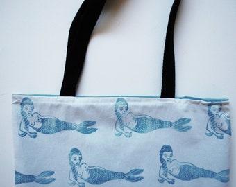 Mermaid Block Printed Pattern Tote Bag // Blue, White & Black