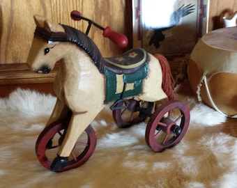 Wooden Toy Horse On Wheels - Old Western Childs Toy - Replica Western Toy - Hand Crafted Wooden Horse - Hand Painted