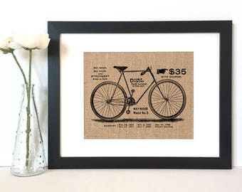 Vintage Bike Ad Burlap Print // Rustic Home Decor