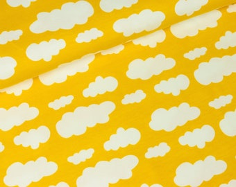 Cotton Jersey Vicente clouds with yellow and white (14.90 EUR / meter)