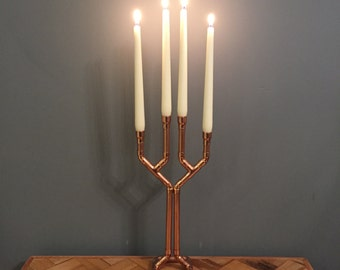 Copper pipe candelabra / candlestick holder with 4 arms