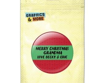 Merry Christmas Red Green 2.25 Inch Diameter Personalized Custom Kitchen Refrigerator Locker Button Magnet