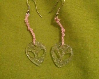 Alien glitter earrings