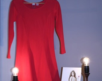 90s dress 36 S true vintage red skater dress A-line mini dress three quarter sleeve grunge sporty hipster sundress circle skirt