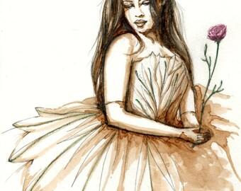 """Original drawing coffee """"Matilda II"""" watercolor painting art Uruguay girl dress rose"""