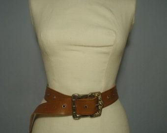 True vintage 60s belt brown leather leather belt genuine leather