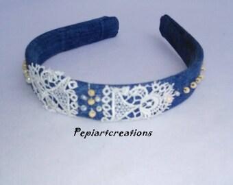 Blue denim headband, denim diadem, handmade diadem of jeans, denim accessories, shabby chic, Boho accessories, blue denim, gift for her