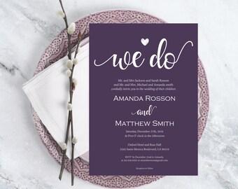 We do Wedding invitation Printable  - Wedding Invitation Template - Printable Wedding Invitation - DIY- Downloadable Wedding #WDH0192