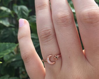 Moon & Star ring-Star Ring-Moon Ring-CZ Rose Gold Ring-Dainty Rose Gold Stacking Ring-Rose Gold Sterling Ring-Moon Star Band