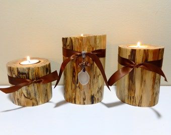 Log Candle Holders   Log Pillar Candle   Wood Pillar Candles   Log Cabin  Decor