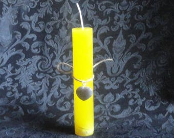 Happiness and Joy Spell Ritual Candle with Gray Agate Crystal Heart Charm