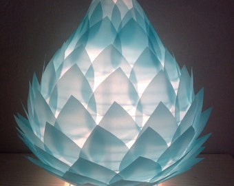 """""""Birth of a Fleur de Lotus"""" table/night light lamp in turquoise tracing paper"""