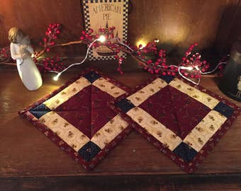 Kitchen /Pot Holders/Handmade/Quilted/Hot Pad/Primitive/Country Decorating  Item #126