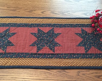 Table Runner/Table Topper/Dresser Scarf/Handmade/Quilted/Primitive/Stars/Country Decor Item #121