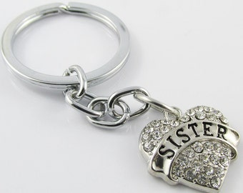 Rhinestone Sister Heart Charm Keychain Keyring 76mm (KC057)
