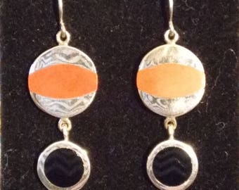 Inlaid Stone & Sterling Silver Earrings