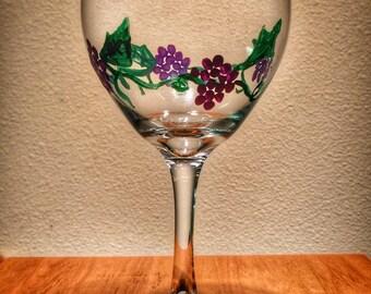 Wine Glass with Grape Vines