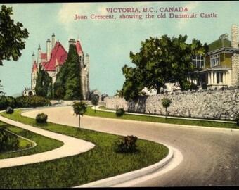 MINT Victoria, B.C., Canada, Joan Crescent Old Dunsmuir Castle, c. 1920s Color Postcard