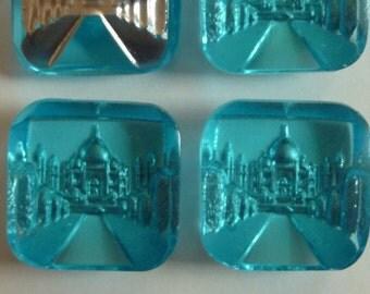 Taj Mahal Vintage Intaglio Glass Stone(1 pc)Light Blue Taj Mahal Glass Stone/Vintage Taj Mahal Carved glass Cab/Art Deco stone/A27 [#67]