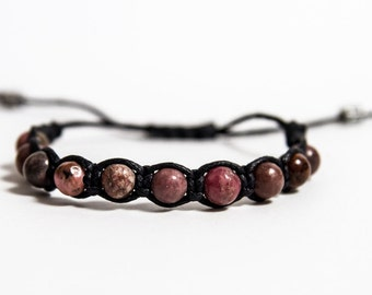 Rhodonite men bracelet, healing bracelet men. Beaded bracelet men. Heart chakra stone. Gift for him.Hand made mens bracelet