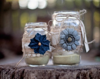 Rustic mason Jar candle holders set of 2