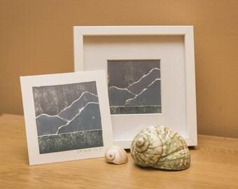 Winter Seascape Lino Print