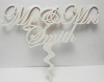 Mr & Mrs Custom Personalised Wedding CakeTopper Acrylic