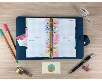 FLORAL REFILL-Personal/Medium-2 Days to page-compatible with Filofax, Kikki K, and many other calendars!