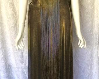 Gold Dress, Gold Lame' dress with Tassels, Gold Lame', Gold Lame dress, Womens Dress, Womens clothing, Long floor length dress, Tassels