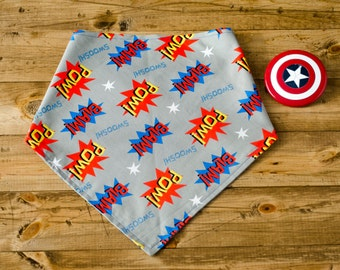 POW - Reversible Grey, Yellow, Green, Red, Blue, Marvel, Comic, Sayings, Super Hero, Dog Bandanna, Pet Accessory, Bright, Tie On Dog Bandana
