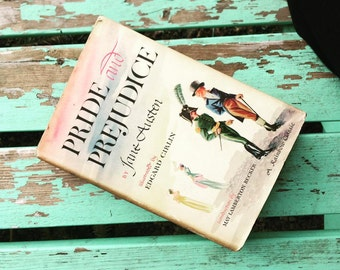 SOLD - Vintage book beautiful cover art Pride & Prejudice by Jane Austen, 1946 Rainbow Classic w/ lovely colorful Edward Cirlin illustration