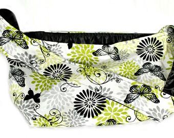 Green Floral Print Shoulder Bag with Black Satin Lining, medium large size