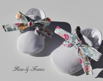 Baby booties (baby shoes) linen and liberty Betsy porcelain