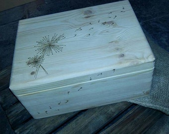 Gorgeous Dreams/Wishes Dandelion  Large Wooden Keepsake box Personalised,engraved, pyrography hand burned