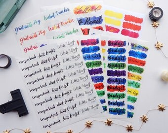 7 Sheet 2017 Planner or Bullet Journal Sticker Productivity Kit - Vibrant Water Color Transparent Glossy Stickers to Get Productive (K6)