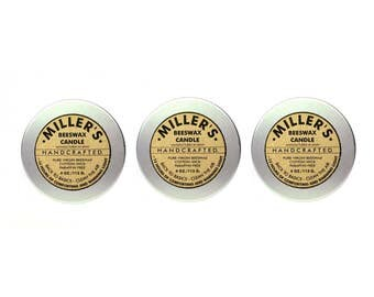 3 MILLER'S BEESWAX CANDLES