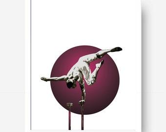 Hand Balance solo Printable - Circus Illustration - Cirque acrobat - Hand Balance - Digital Download - Circus Drawing - Hand stand - Acrobat