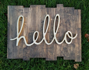 Hello wood sign, Rustic Home Decor