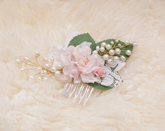 Bridal flower hair comb Wedding hair accessory Wedding hair comb pink flowers  Bridal fasinator Wedding hair slide Bridesmaid hair comb lace
