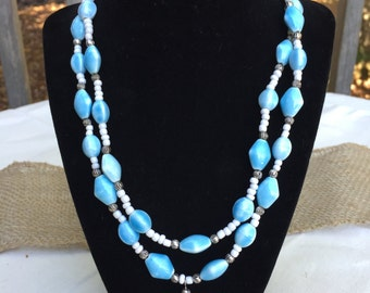 Light Blue Double Stranded Ceramic Necklace with White & Silver Accents