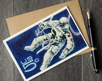 NASA astronaut birthday card, Apollo project space walk, NASA Christmas card set, space art card set, US postage stamp art, space art cards