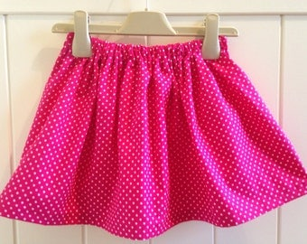 Traditional Cerise Pink & White Polka Dot Girls Skater Skirt