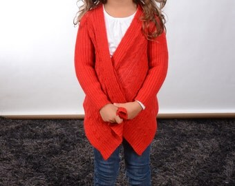 "alpaca girls cardigan sweater size 4 - 6 years ""christmasbraid"""
