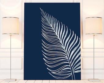 Silver Printable Palm Leaf Art Print, Silver Tropical Leaf Decor, Silver Bedroom Decor, Silver Palm Leaf Wall Decor, Silver Decor Above Bed