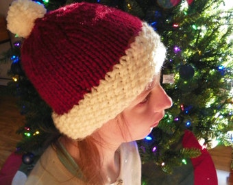 Santa's Favorite Christmas Beanie, With Pom Pom, Adult/Child/Baby Sizes Available