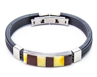 bracelet for men , gift for man, Amber , natural stone , Metal , Rubber, Color:honey / cherry