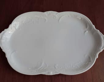 """Rosenthal Continental Oval Platter in Sanssouci White, All White Platter, 11"""" Oval Serving Platter, Made in Germany, White Dinnerware"""