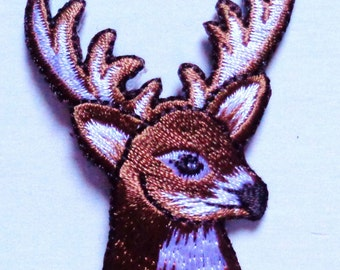 Embroidered Iron-On Applique Deer , 1+1/2 x 2 inch