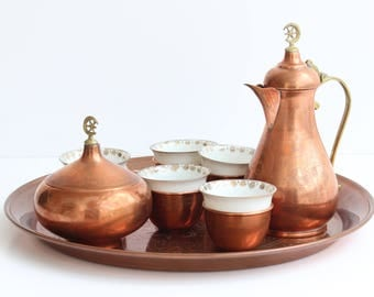 Copper Service Set / 5 Porcelain Cups with Tray and Coffee-Tea Pot / Ottoman /Muslim / Tray / Islamic Coffee Set / Gazi Husrev-beg